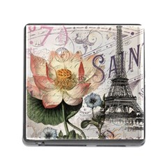 Vintage Paris Eiffel Tower Floral Memory Card Reader With Storage (square) by chicelegantboutique