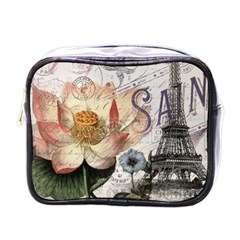 Vintage Paris Eiffel Tower Floral Mini Travel Toiletry Bag (one Side) by chicelegantboutique