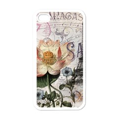 Vintage Paris Eiffel Tower Floral Apple Iphone 4 Case (white)