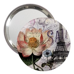 Vintage Paris Eiffel Tower Floral 3  Handbag Mirror by chicelegantboutique