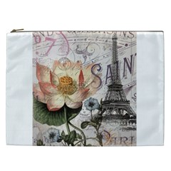 Vintage Paris Eiffel Tower Floral Cosmetic Bag (xxl) by chicelegantboutique