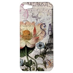 Vintage Paris Eiffel Tower Floral Apple Iphone 5 Hardshell Case by chicelegantboutique
