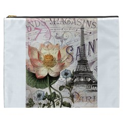 Vintage Paris Eiffel Tower Floral Cosmetic Bag (xxxl)