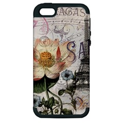 Vintage Paris Eiffel Tower Floral Apple Iphone 5 Hardshell Case (pc+silicone)