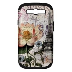Vintage Paris Eiffel Tower Floral Samsung Galaxy S Iii Hardshell Case (pc+silicone) by chicelegantboutique