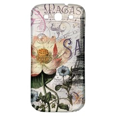 Vintage Paris Eiffel Tower Floral Samsung Galaxy S3 S Iii Classic Hardshell Back Case by chicelegantboutique