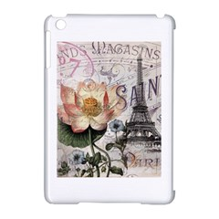 Vintage Paris Eiffel Tower Floral Apple Ipad Mini Hardshell Case (compatible With Smart Cover) by chicelegantboutique
