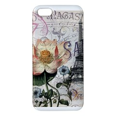 Vintage Paris Eiffel Tower Floral Apple Iphone 5 Premium Hardshell Case by chicelegantboutique