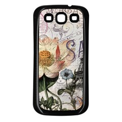 Vintage Paris Eiffel Tower Floral Samsung Galaxy S3 Back Case (black) by chicelegantboutique