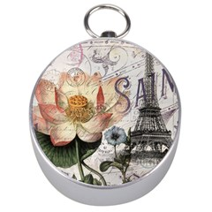 Vintage Paris Eiffel Tower Floral Silver Compass by chicelegantboutique