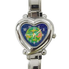 Sun Face Heart Italian Charm Watch