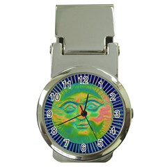 Sun Face Money Clip With Watch