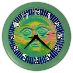 Sun Face Wall Clock (color) by sirhowardlee