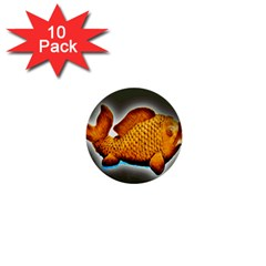Goldfish 1  Mini Button (10 Pack) by sirhowardlee