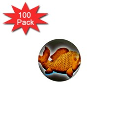 Goldfish 1  Mini Button Magnet (100 Pack) by sirhowardlee