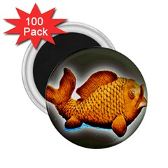 Goldfish 2 25  Button Magnet (100 Pack) by sirhowardlee