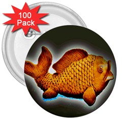 Goldfish 3  Button (100 Pack) by sirhowardlee
