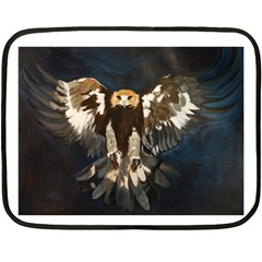 Golden Eagle Mini Fleece Blanket (two Sided) by JUNEIPER07
