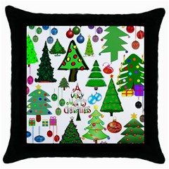 Oh Christmas Tree Black Throw Pillow Case by StuffOrSomething