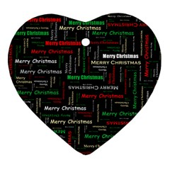 Merry Christmas Typography Art Heart Ornament by StuffOrSomething