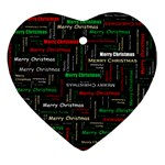 Merry Christmas Typography Art Heart Ornament Front
