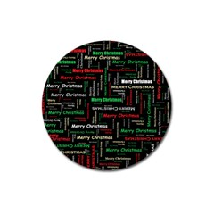 Merry Christmas Typography Art Magnet 3  (round) by StuffOrSomething