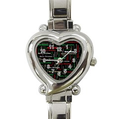 Merry Christmas Typography Art Heart Italian Charm Watch  by StuffOrSomething