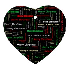 Merry Christmas Typography Art Heart Ornament (two Sides) by StuffOrSomething