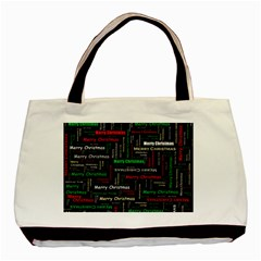 Merry Christmas Typography Art Twin Sided Black Tote Bag by StuffOrSomething