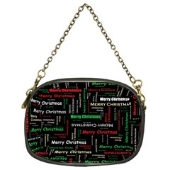 Merry Christmas Typography Art Chain Purse (one Side) by StuffOrSomething