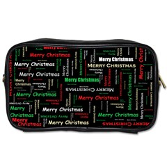 Merry Christmas Typography Art Travel Toiletry Bag (one Side) by StuffOrSomething