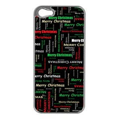 Merry Christmas Typography Art Apple Iphone 5 Case (silver) by StuffOrSomething