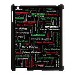Merry Christmas Typography Art Apple Ipad 3/4 Case (black) by StuffOrSomething