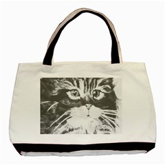 Kitten Bag Twin Sided Black Tote Bag