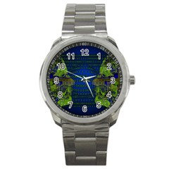 Binary Communication Sport Metal Watch