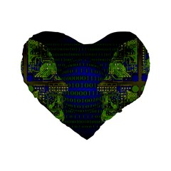 Binary Communication 16  Premium Heart Shape Cushion
