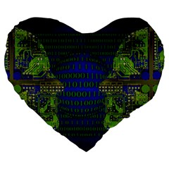 Binary Communication 19  Premium Heart Shape Cushion