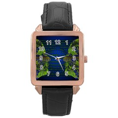 Binary Communication Rose Gold Leather Watch