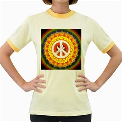 Psychedelic Peace Dove Mandala Women s Ringer T Shirt (colored)