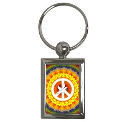 Psychedelic Peace Dove Mandala Key Chain (rectangle)