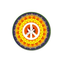 Psychedelic Peace Dove Mandala Magnet 3  (round) by StuffOrSomething