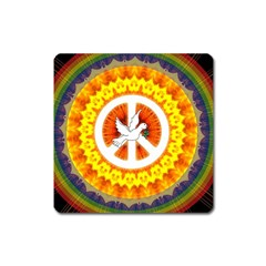 Psychedelic Peace Dove Mandala Magnet (square)