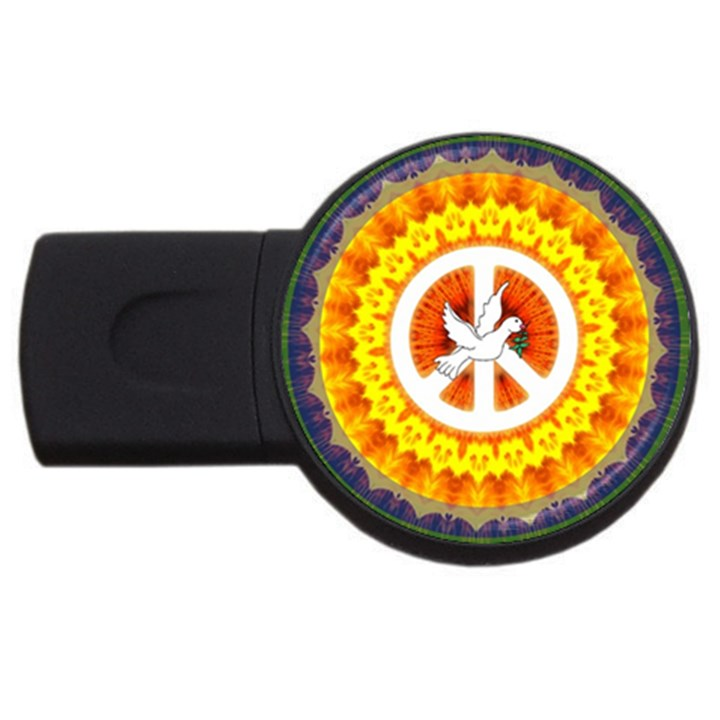 Psychedelic Peace Dove Mandala 2GB USB Flash Drive (Round)