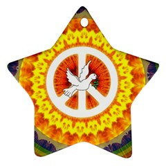 Psychedelic Peace Dove Mandala Star Ornament (two Sides) by StuffOrSomething