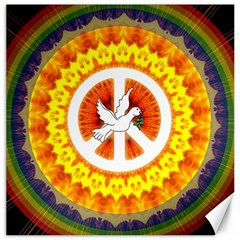 Psychedelic Peace Dove Mandala Canvas 16  X 16  (unframed) by StuffOrSomething