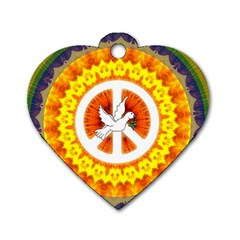 Psychedelic Peace Dove Mandala Dog Tag Heart (one Sided)  by StuffOrSomething