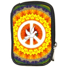 Psychedelic Peace Dove Mandala Compact Camera Leather Case