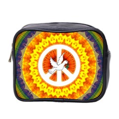 Psychedelic Peace Dove Mandala Mini Travel Toiletry Bag (two Sides)