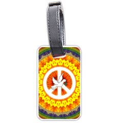 Psychedelic Peace Dove Mandala Luggage Tag (two Sides)