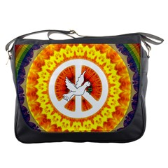 Psychedelic Peace Dove Mandala Messenger Bag by StuffOrSomething